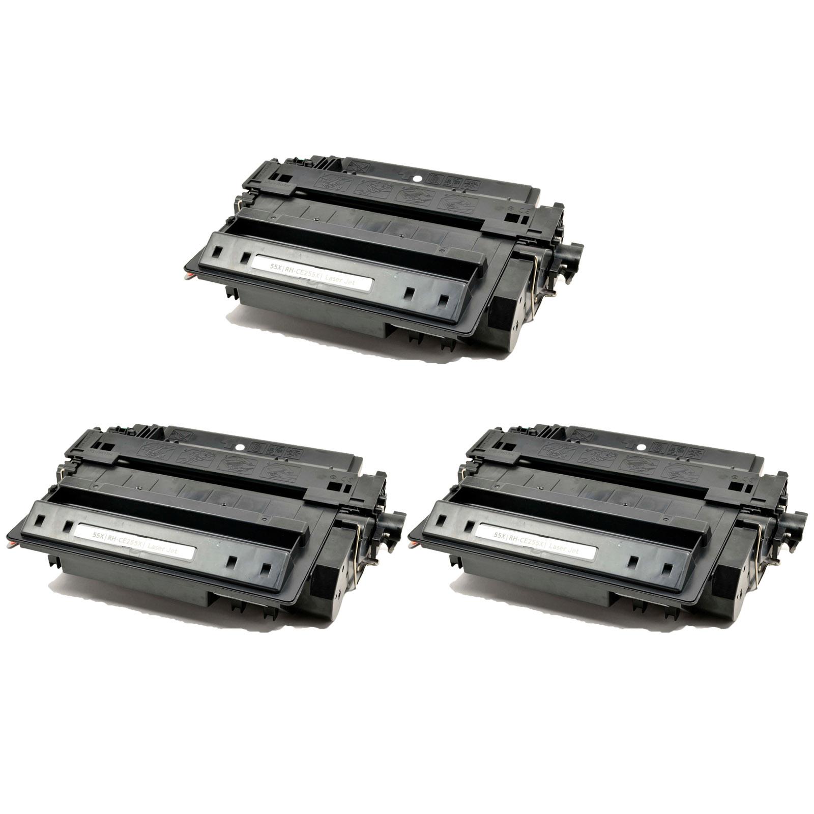 3pk CE255A Black Toner Cartridge for HP LaserJet Enterprise P3010 P3015 P3016