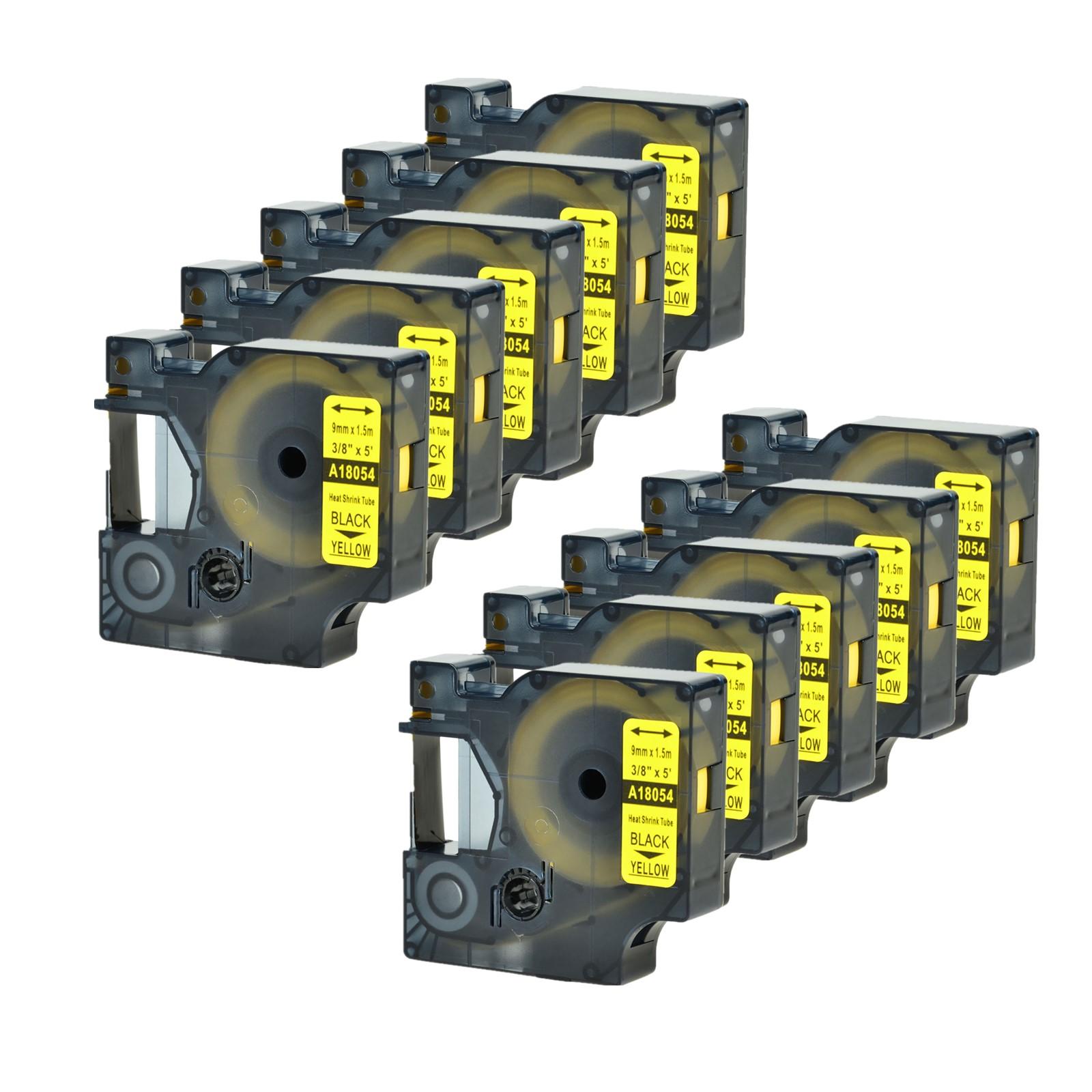10* For DYMO Rhino 5000//6000 Heat-Shrink Tube 18054 Industry Label Tape 9mm*1.5m