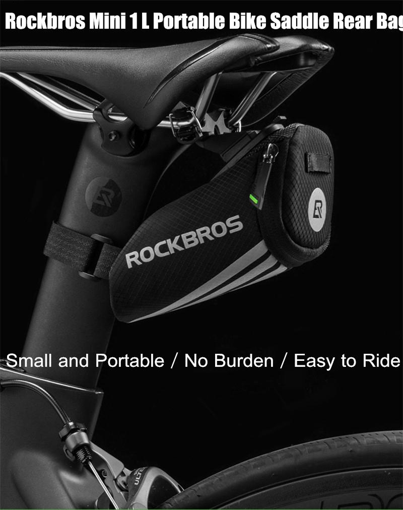 RockBros Black Cycling Bicycle Road Bike Portable Mini Small Tail Saddle Bag