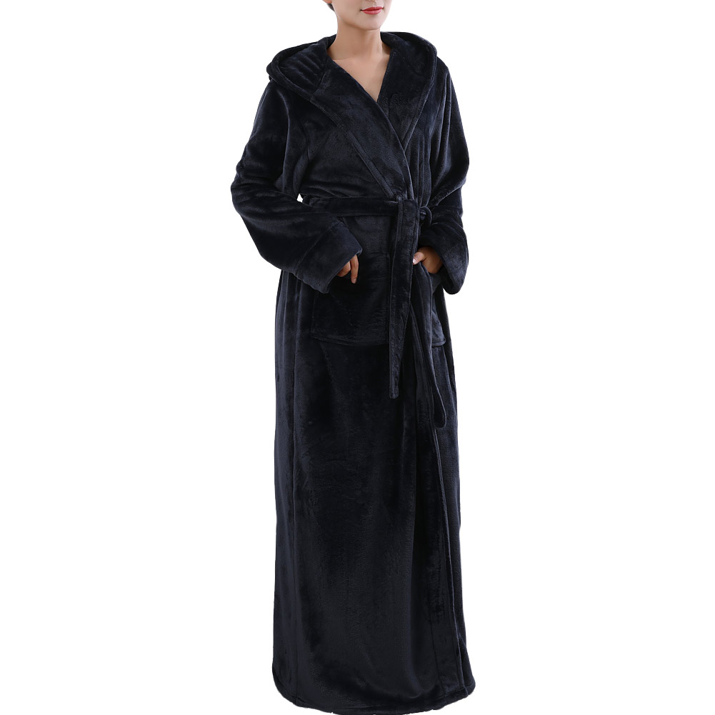 Women\'s Hooded Flannel Fleece Bathrobe Winter Extra Long Robes ...