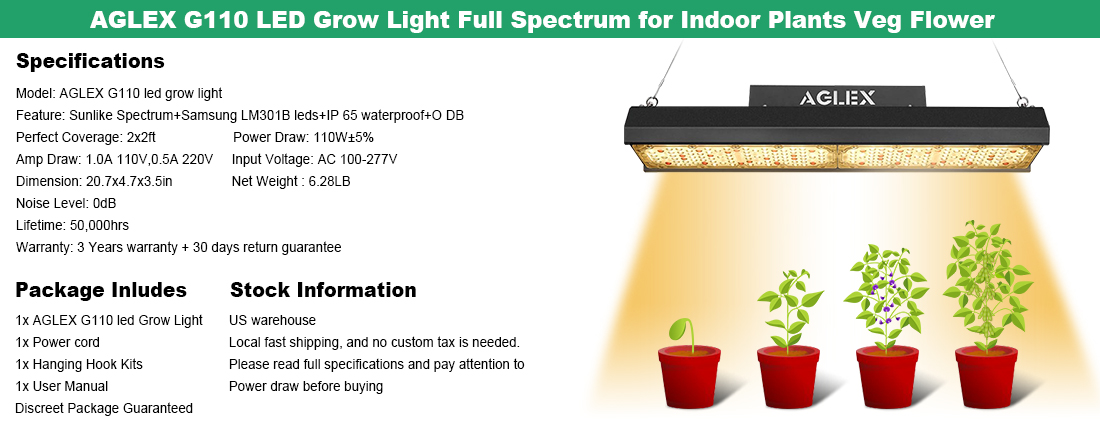 AGLEX G110 LED Grow Lights Sunlike Full Spectrum for Indoor Plants Grow Lamp