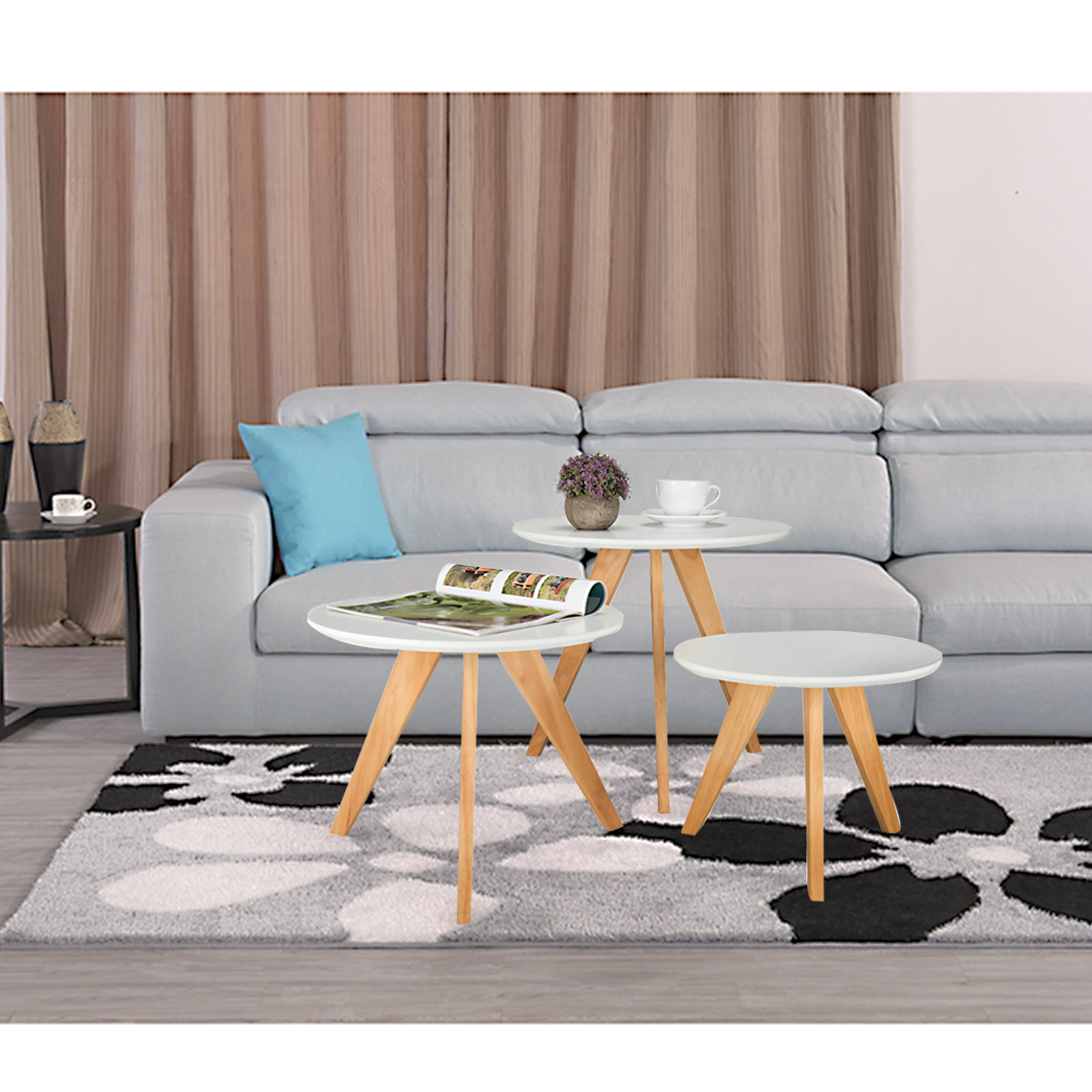 Set Of 3 Wooden Coffee Table Modern Round Nest Of Tables