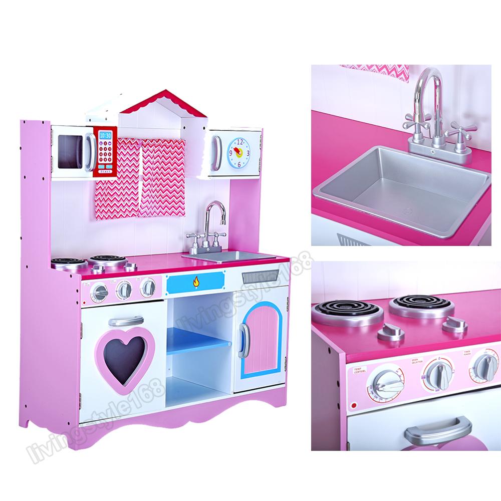 Large Girls Kids Pink Wooden Play Kitchen Children S Role Pretend Set Toy