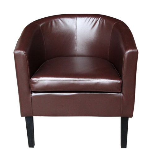 Crushed Velvet Tub Chair Faux Leather Armchair Occasional Accent Club Chairs  UK
