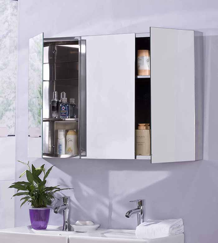 Luxury 3 Door Stainless Steel Bathroom Mirror Cabinet Triple Cupboard 900x600mm
