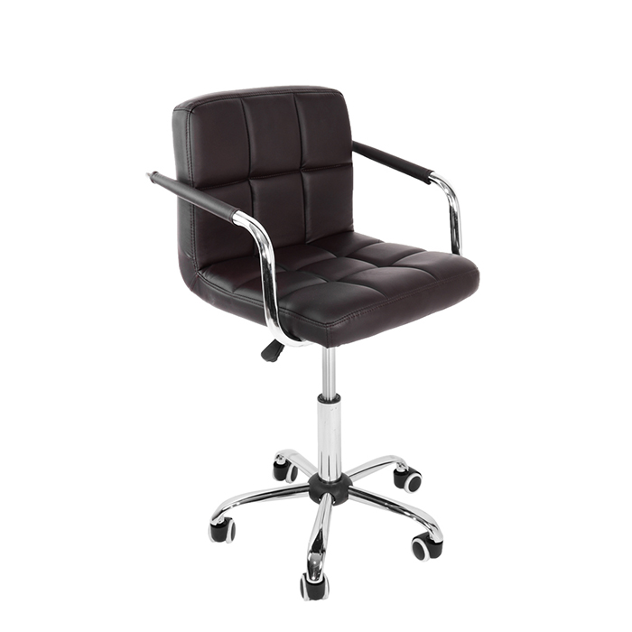 Cushioned Office Chair Chrome Legs Lift Swivel Computer Desk Chairs Pu Leather