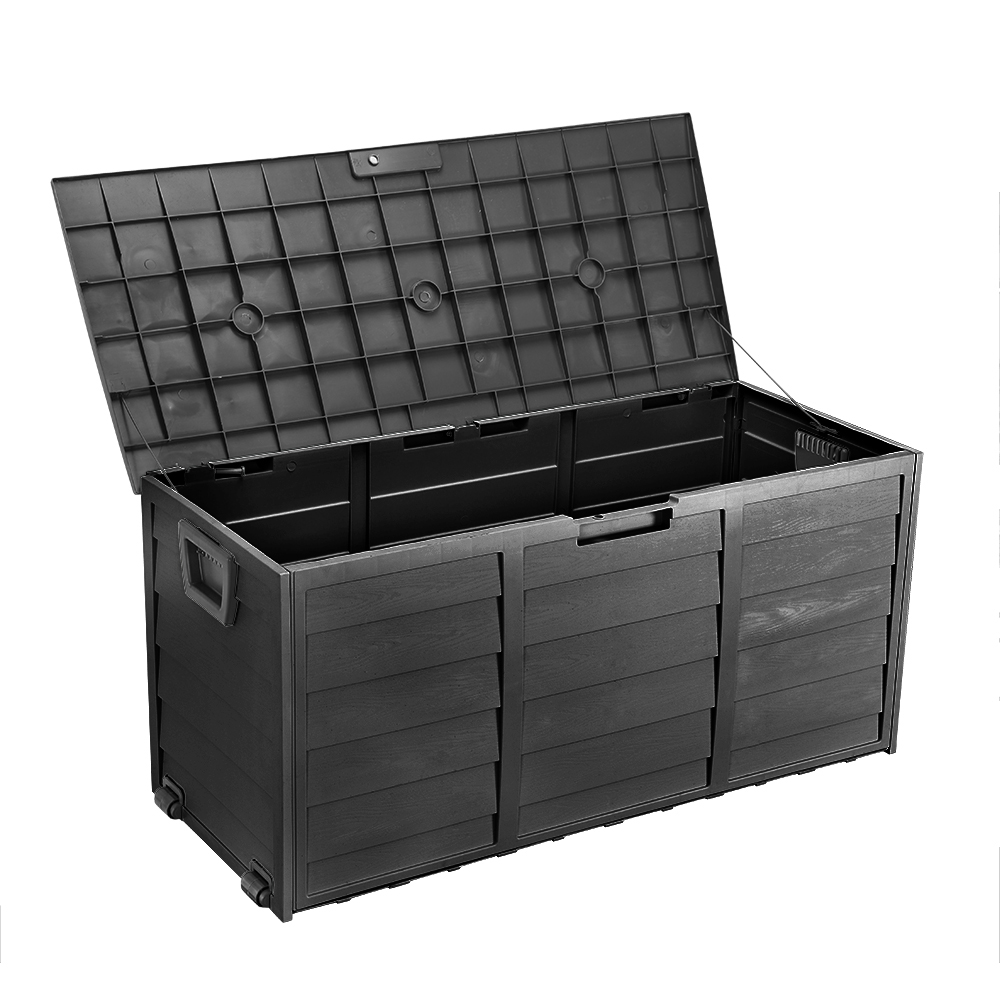 250l Large Garden Storage Box Plastic Shed Outdoor Wheels