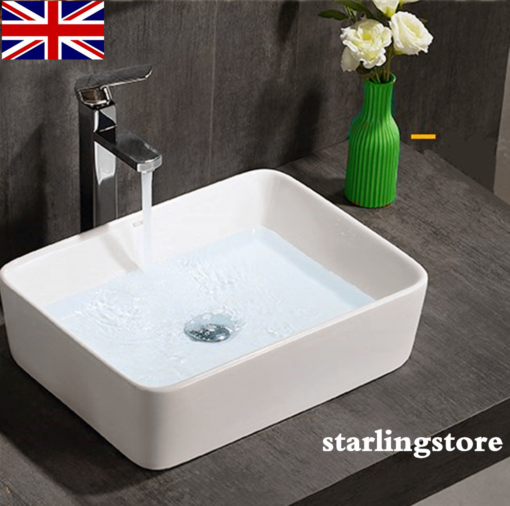 Modern Ceramic Rectangular Wash Basin Sink Bath White