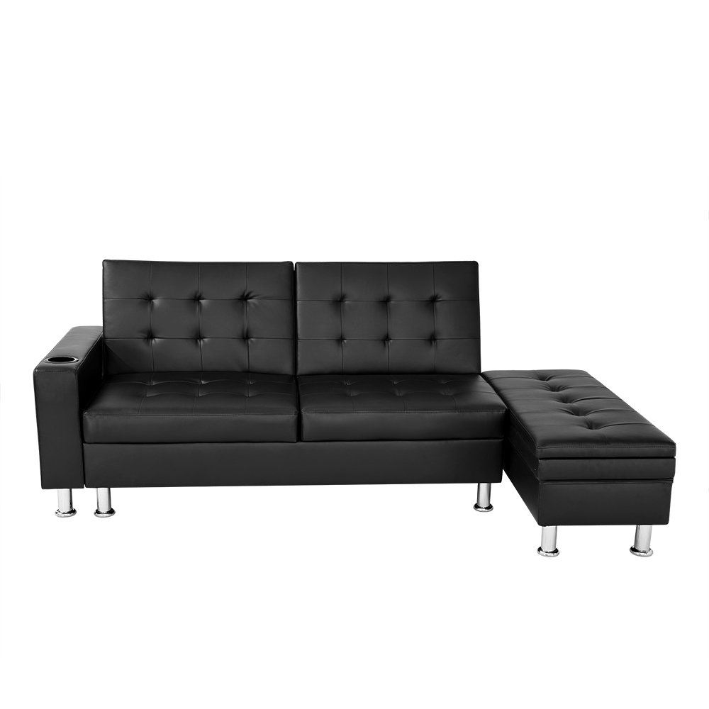 Corner Recliner Sofa Ebay: Faux Leather Corner Sofa Bed With Storage & Cup Holder