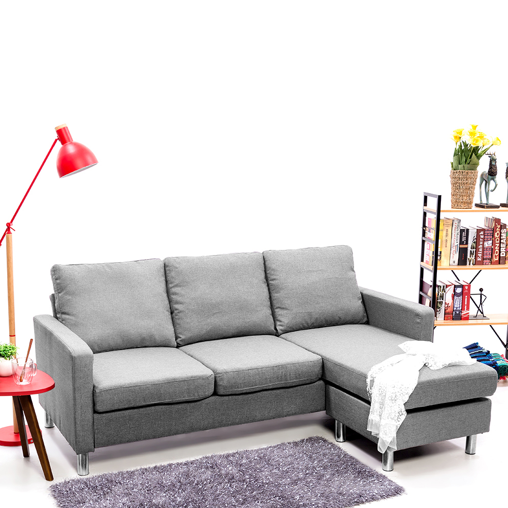 L Shaped Corner Chaise Sofa Grey Fabric Black Faux Leather 3