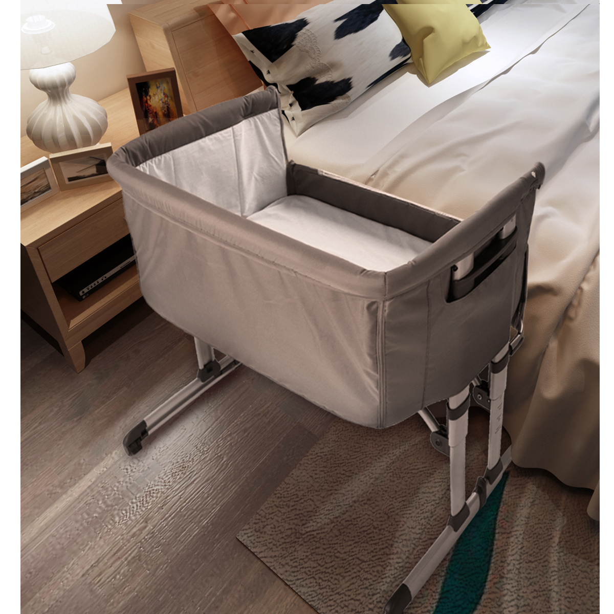 beistellbett stillbett mit matratze babybett wiege faltbare stubenbett braun de ebay. Black Bedroom Furniture Sets. Home Design Ideas