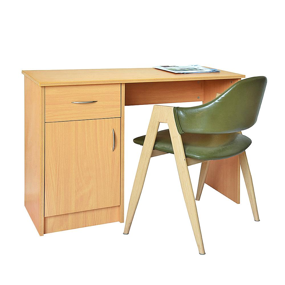 White Black Oak Desk 1 Drawer Door Compact Computer Workstation Home Office Uk