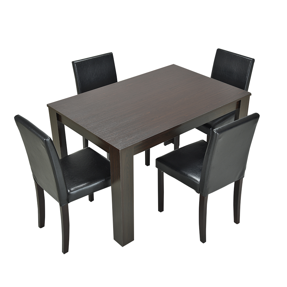 Wooden Glass Dining Table And 4 Or 6 Faux Leather Chairs Set Kitchen Furniture