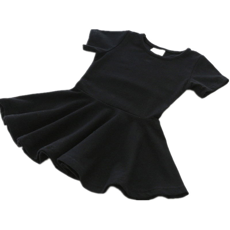 Kids Baby Girls Skirt Short Sleeve Cotton Dresses Toddler Clothes