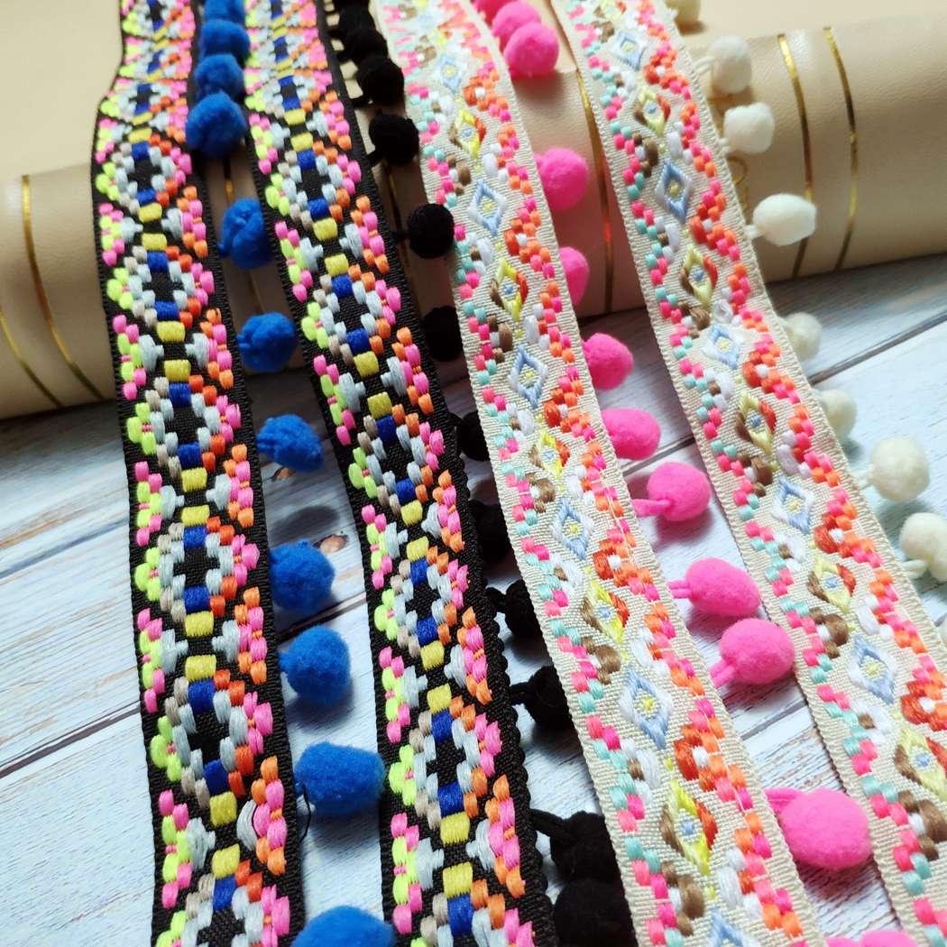 2 Yds Lace Trim Black Colorful Fringe Edging Tassel Dress Diy Sewing Crafts