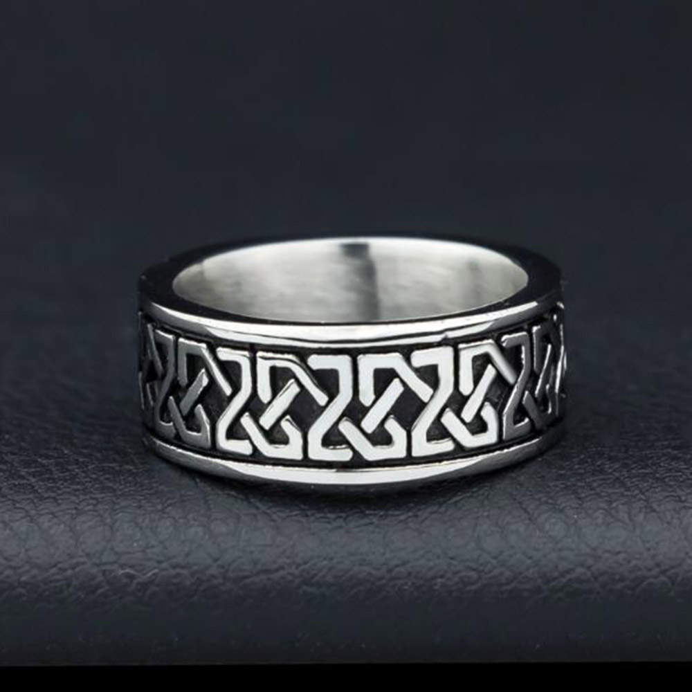 Antique Mens Celtic Band Finger Rings Gothic Punk Silver Stainless Steel Jewelry