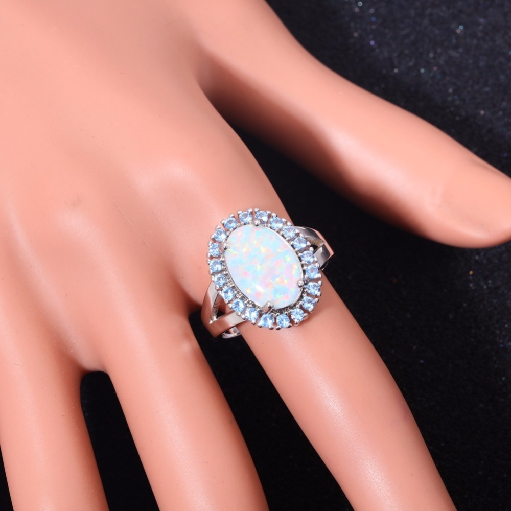 925 Silver white Fire opal For Women\'s Fashion Jewelry Gift wedding ...
