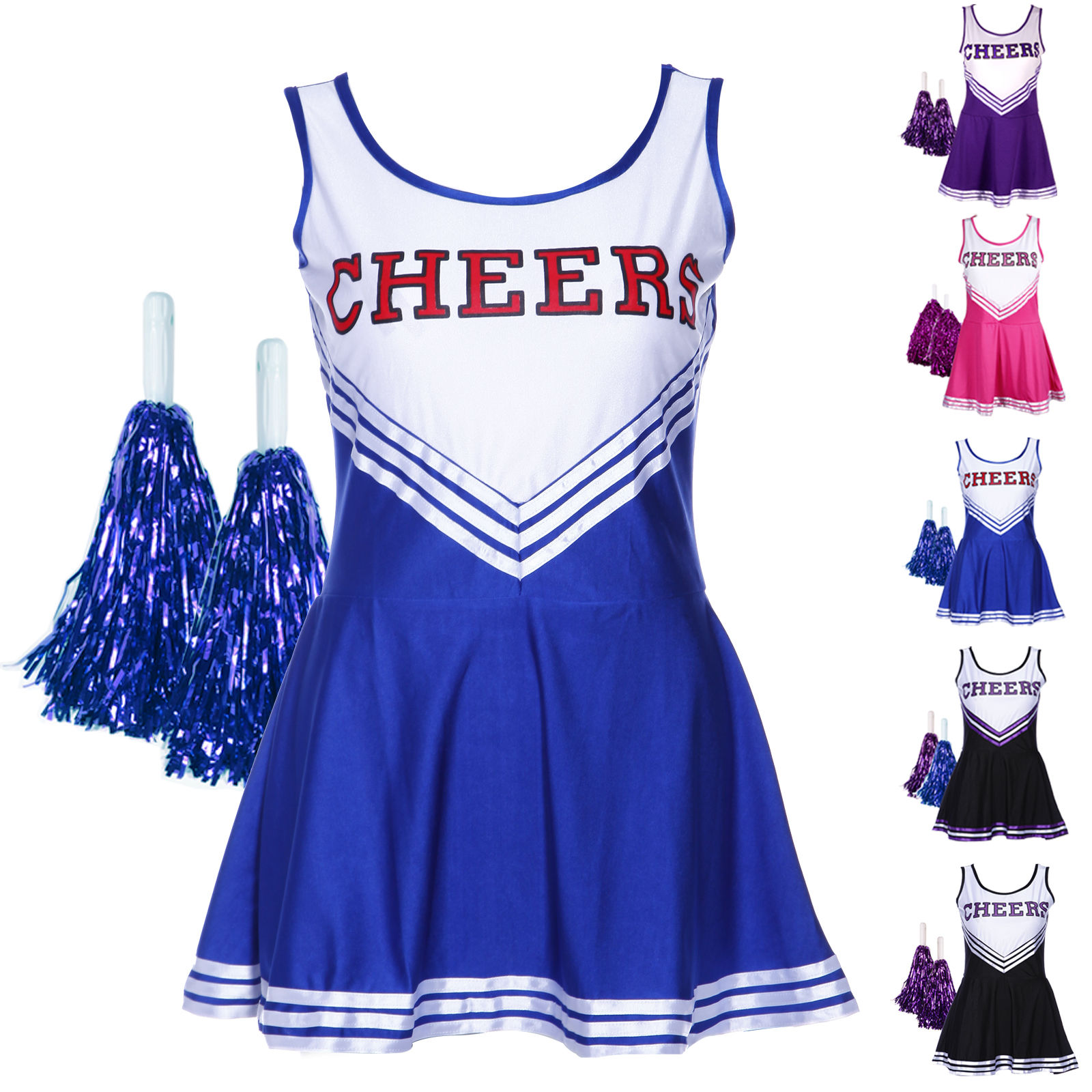 High School Girls Musical Costumes Cheerleader Uniform Costume Outfit Pompoms
