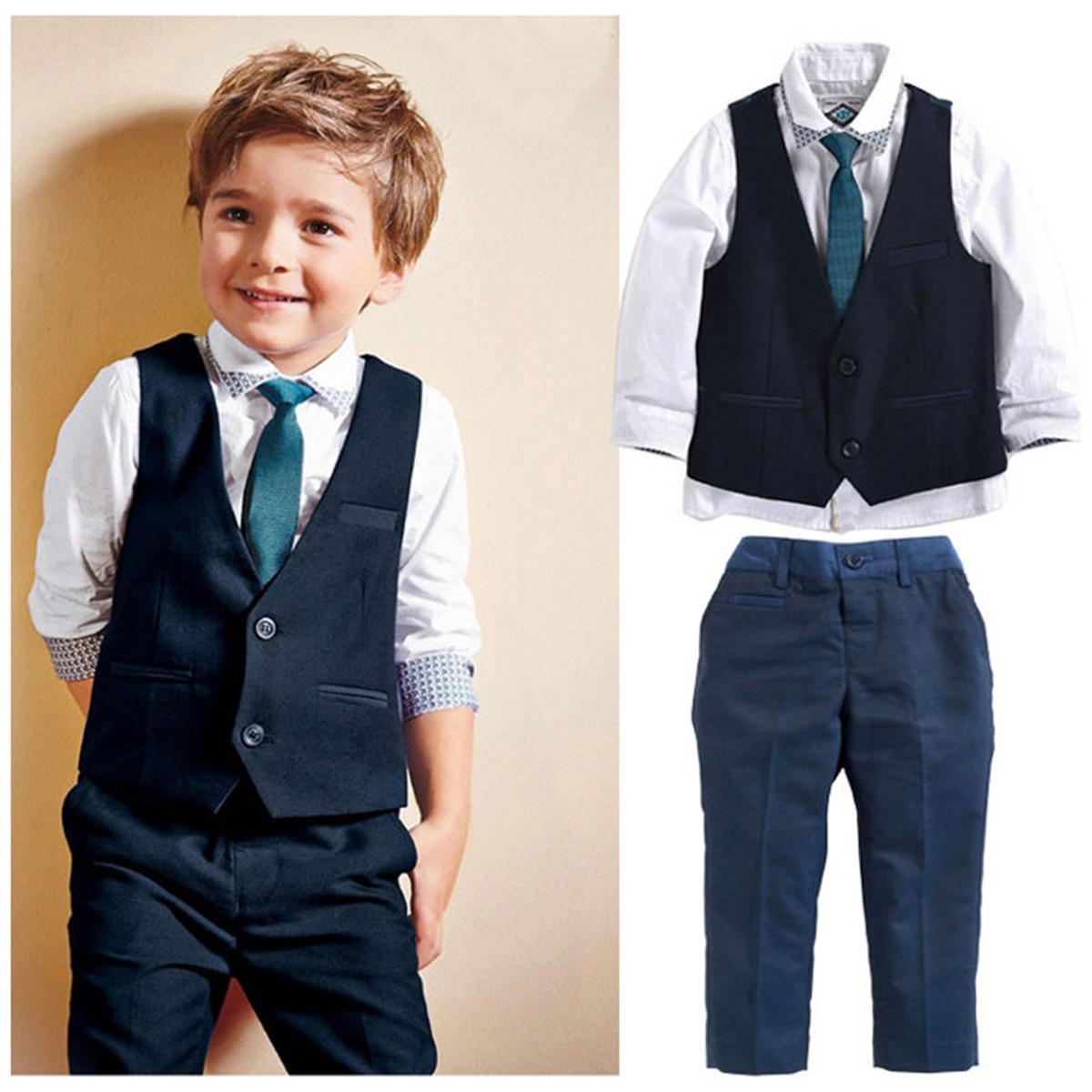 4pcs//set Baby Boys Dress Suit Vest Shirt Necktie Pants Kids Clothes Outfits