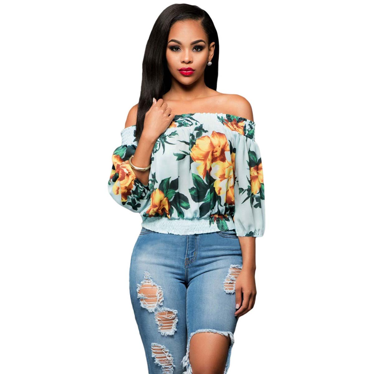 75d8bb05b19b35 Spring Summer 2018 Fashion Women Off-the-shoulder Loose Floral Print Top  Blouses