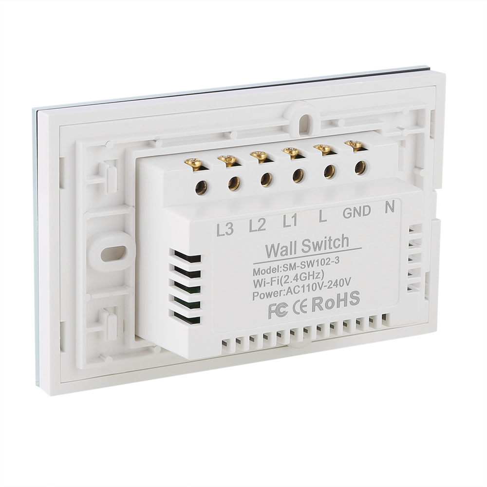 4x 3 Gang 1 Way Wifi Smart Wall Light Switch Touch Panel Work with ...