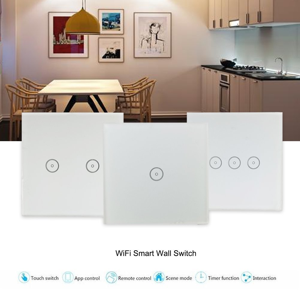 2pcs wifi switch lichtschalter wandschalter touch panel fernbedienung f r alexa ebay. Black Bedroom Furniture Sets. Home Design Ideas