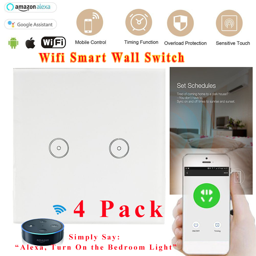 4* Smart WiFi Lichtschalter Timer Touch Wandschalter Panel Fur ...