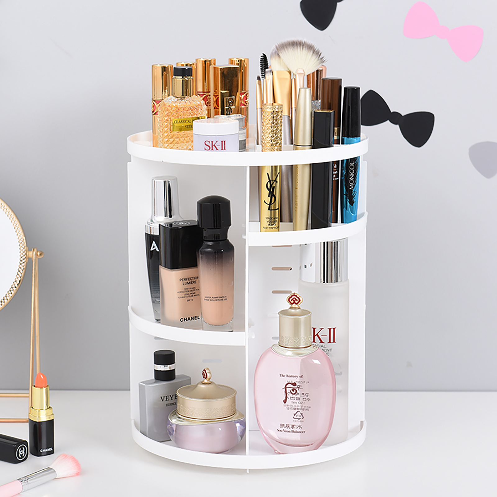 Details about Makeup Cosmetic Rack Holder 360 Degree Rotating Organizer Storage Box Case White