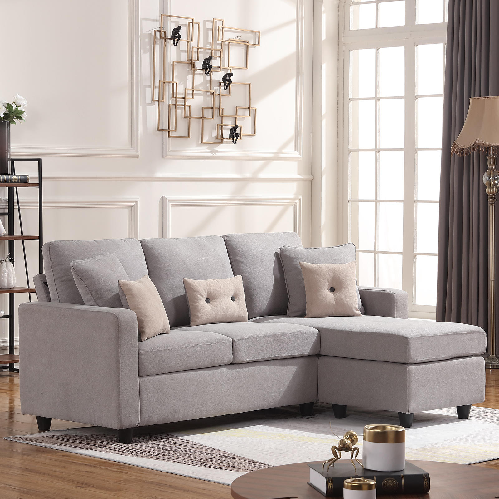 Light Grey Sectional Fabric Sofa L-Shaped Couch W ...