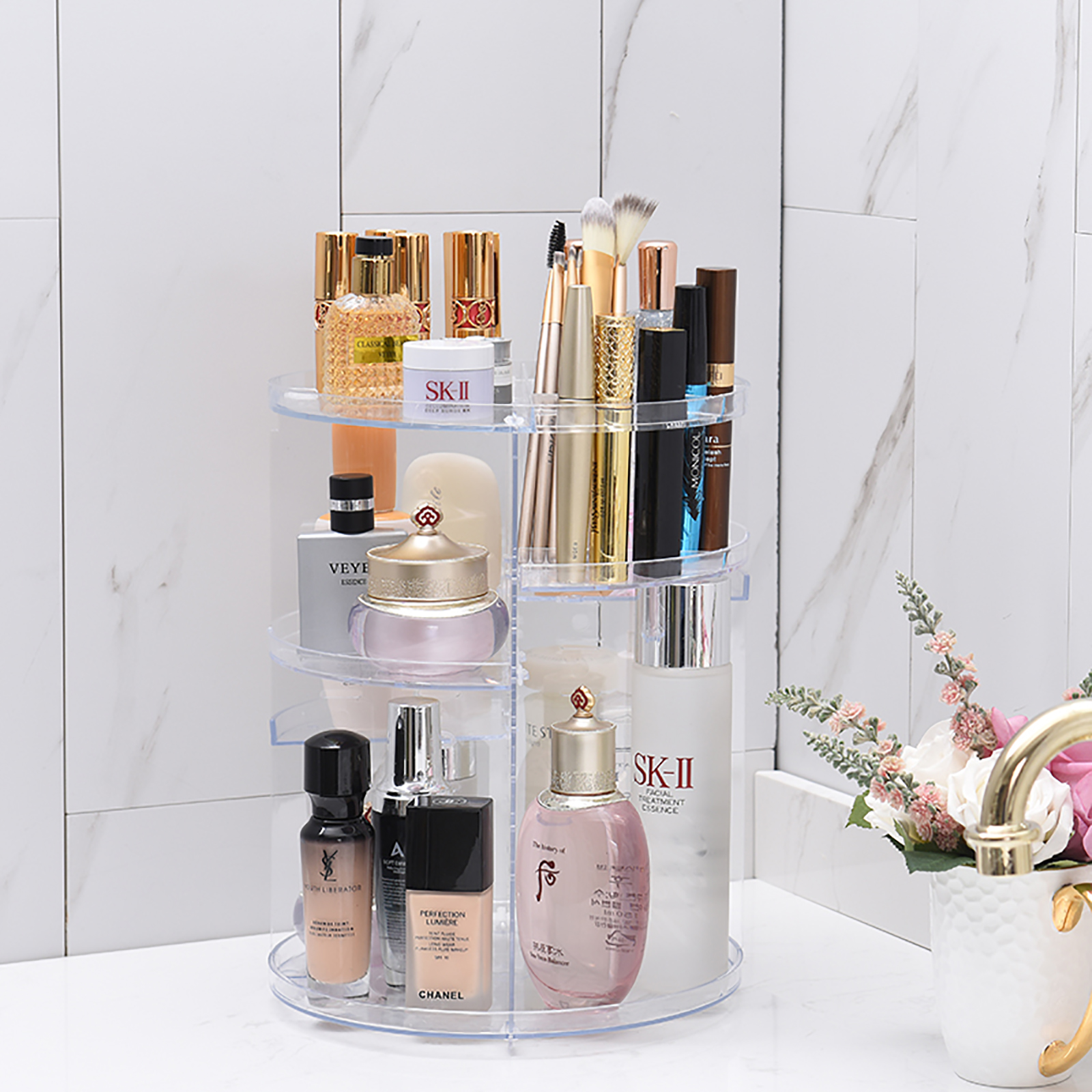 Details about Makeup Cosmetic Rack Holder 360 Degree Rotating Organizer Storage Box Case Clear