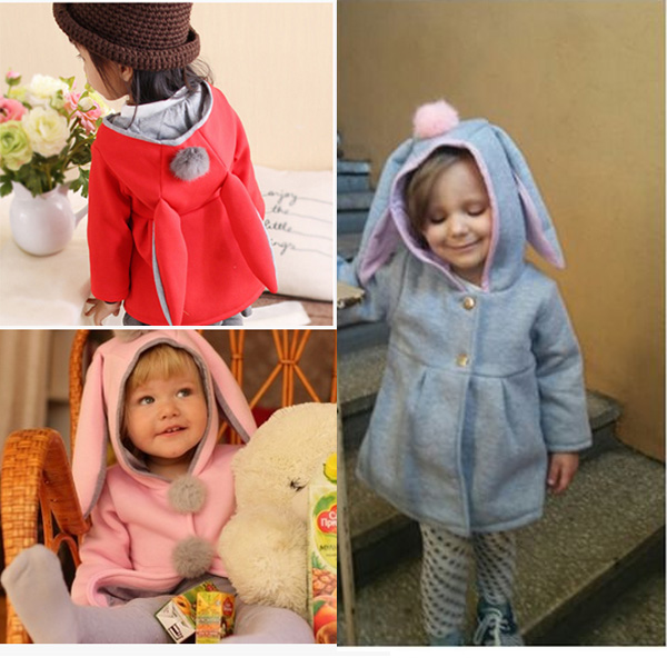 1383bfbb8d99 Baby Girl Kids Rabbit Ear Bunny Hoodies Coat Hoody Winter Jacket ...