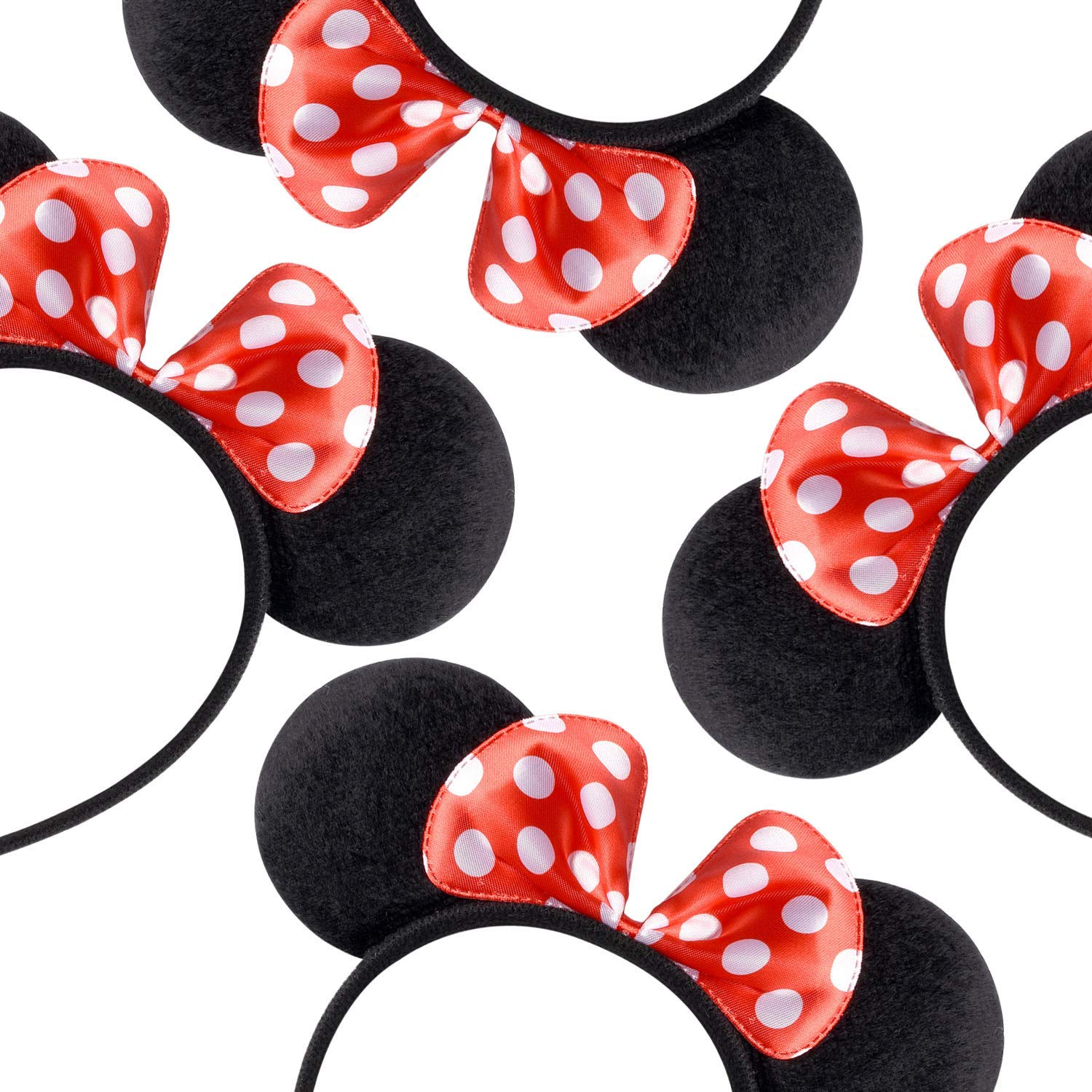 16 MINNIE MOUSE EARS HEADBANDS BLACK PLUSH PINK BOW PARTY FAVORS COSTUME MICKEY