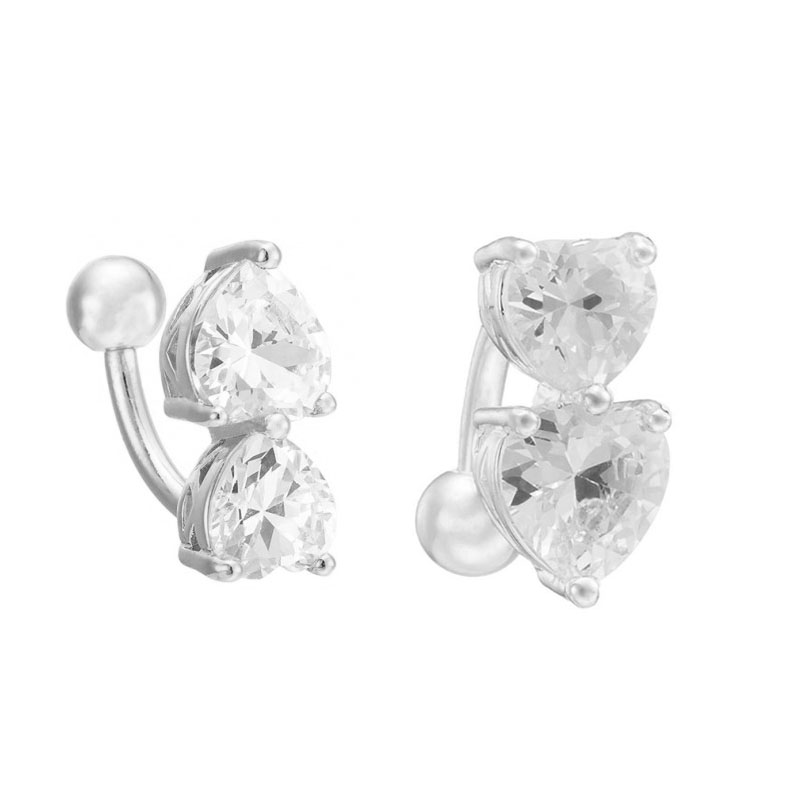 Details about Wholesale Navel Belly Ring Crystal Button Bar Body Piercing  Jewelry Double Heart