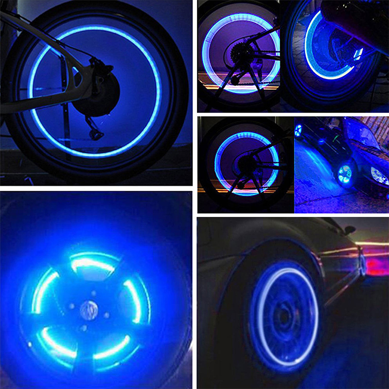 10 pairs LEDs INCLUDED Liroyal Blue LED Flash Tyre Wheel Valve Cap Light for Car Bike bicycle Motorbicycle Wheel Light Tire Light
