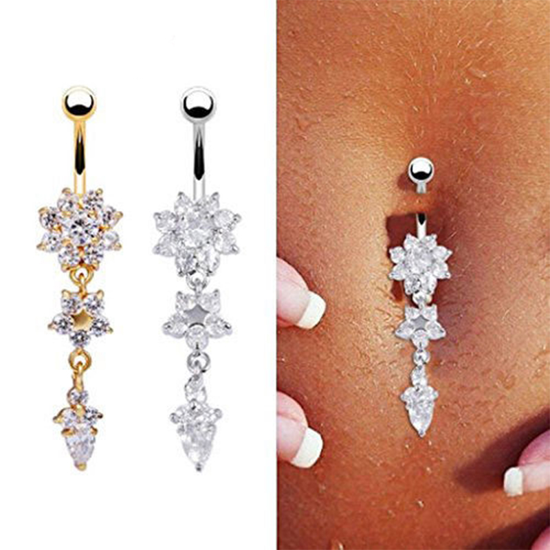 Beauty Navel Belly Button Rings Crystal Dangle Bar Barbell Body Piercing Jewelry