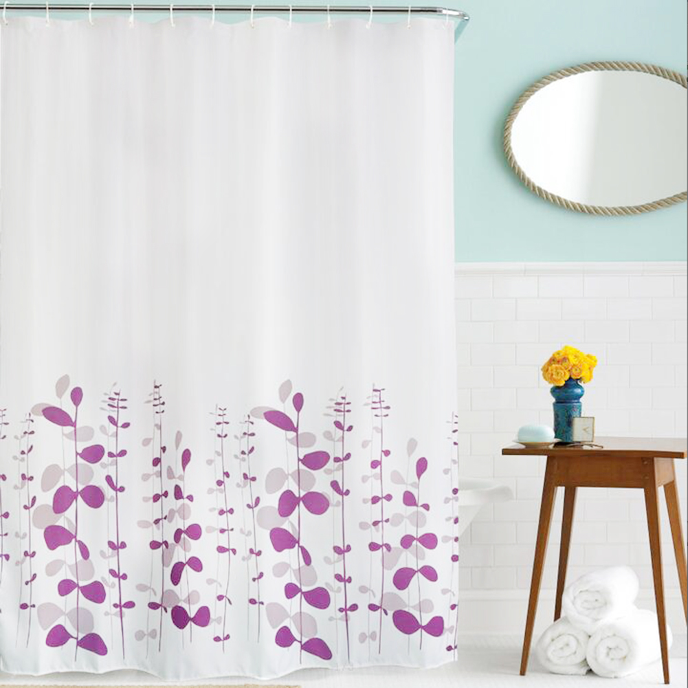 Details About Fabric Waterproof Bathroom Shower Curtain Panel Sheer Decor With Hooks Set