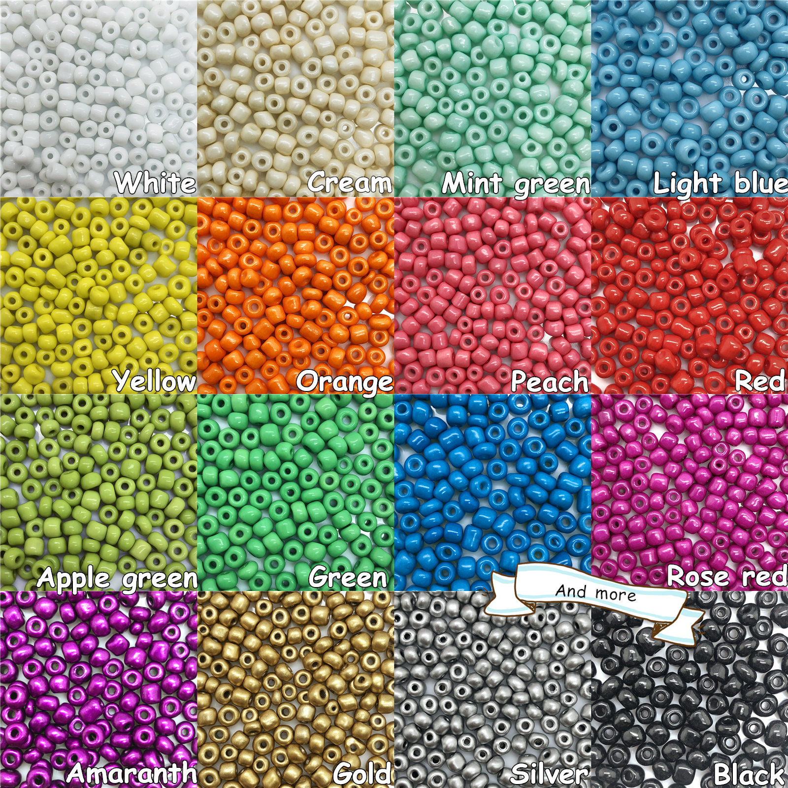 """Twenty 14/"""" Strands Mixed Glass Seed Bead Mix Approximately 3,300-3,600 Beads"""