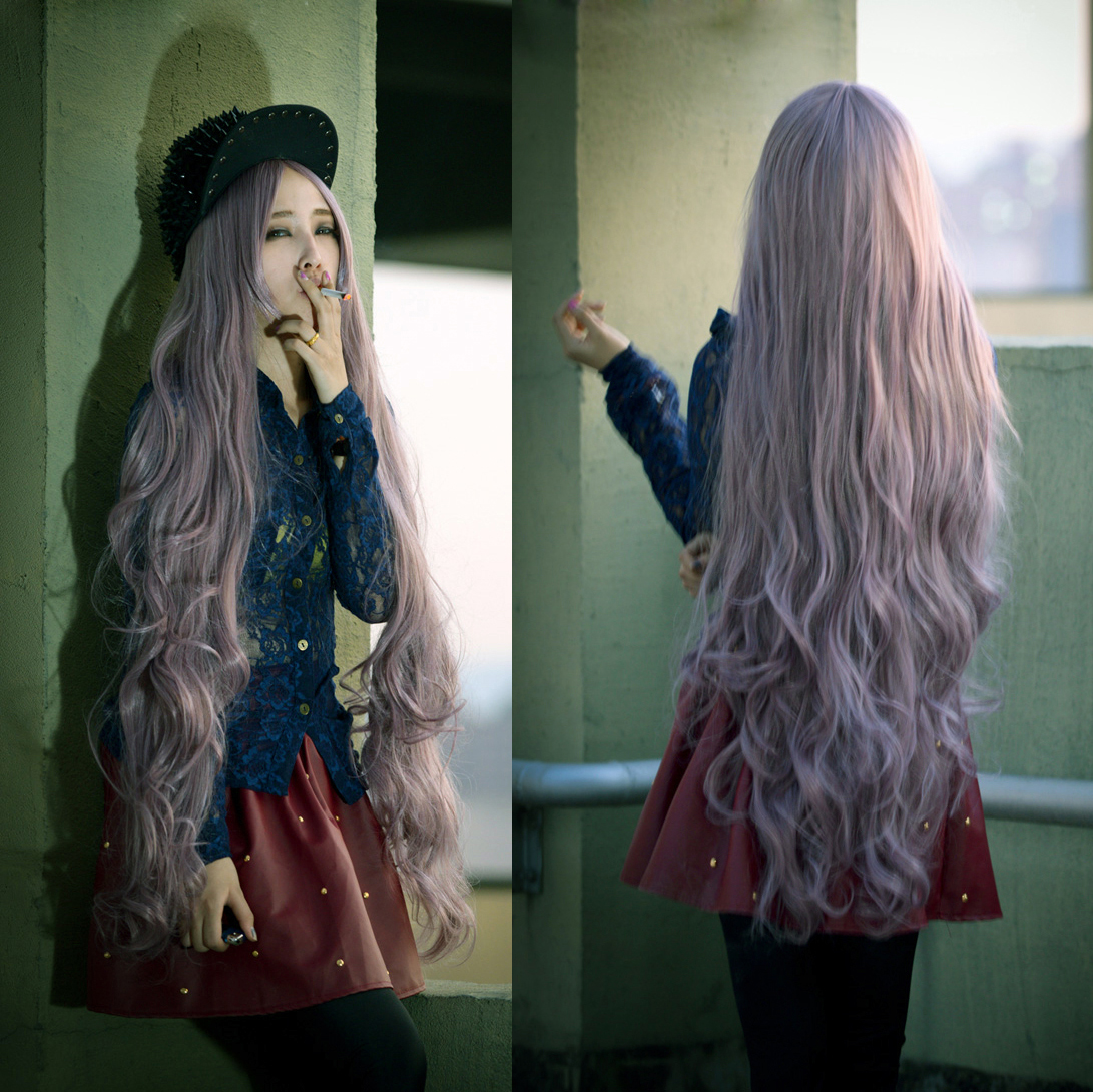 Details about Wavy Super Long wigs for women Cosplay Curly Lavender hair  girl Lilac Full wig A 6fd086907a