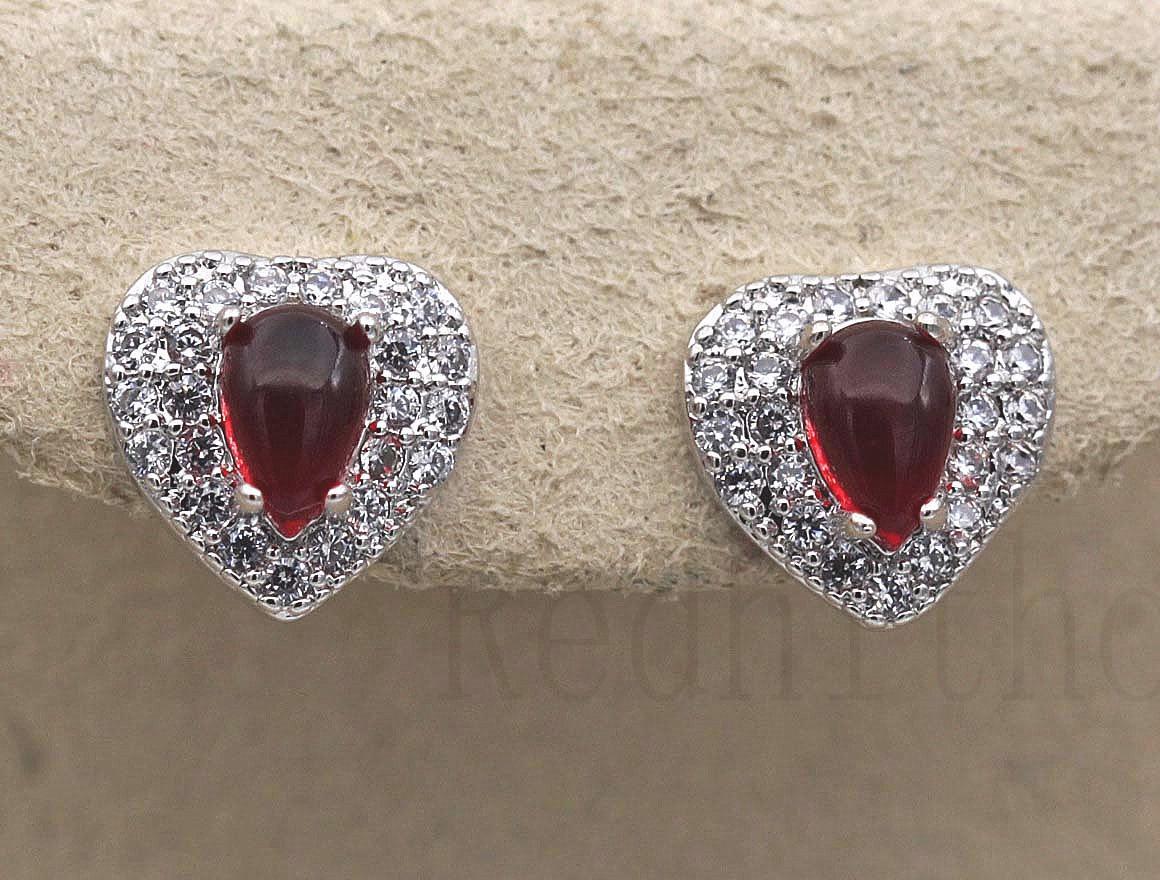 18K White Gold Filled Topaz Ear Stud Ruby Peach Heart Teardrop Women Earrings DS
