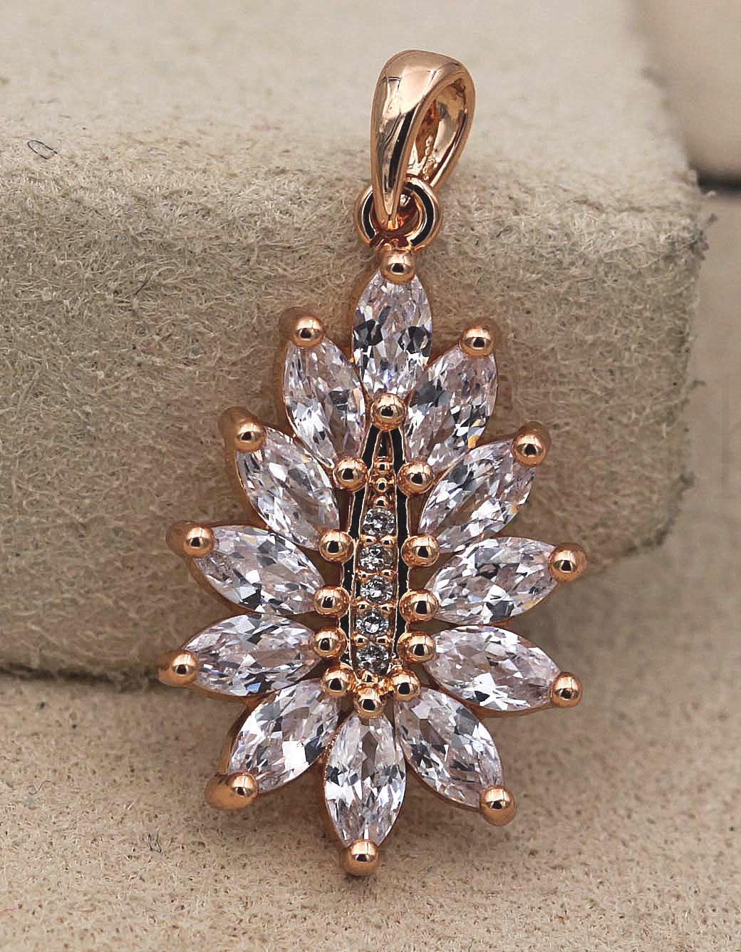 18K Gold Filled Pendant Clear Zircon Gems Topaz Double Heart Cat Eyes Women BT