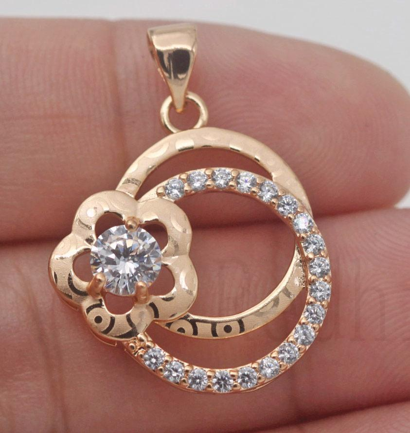 18K Gold Filled Waterdrop Leaves Siamese Hollow White Topaz Prom Women Pendant