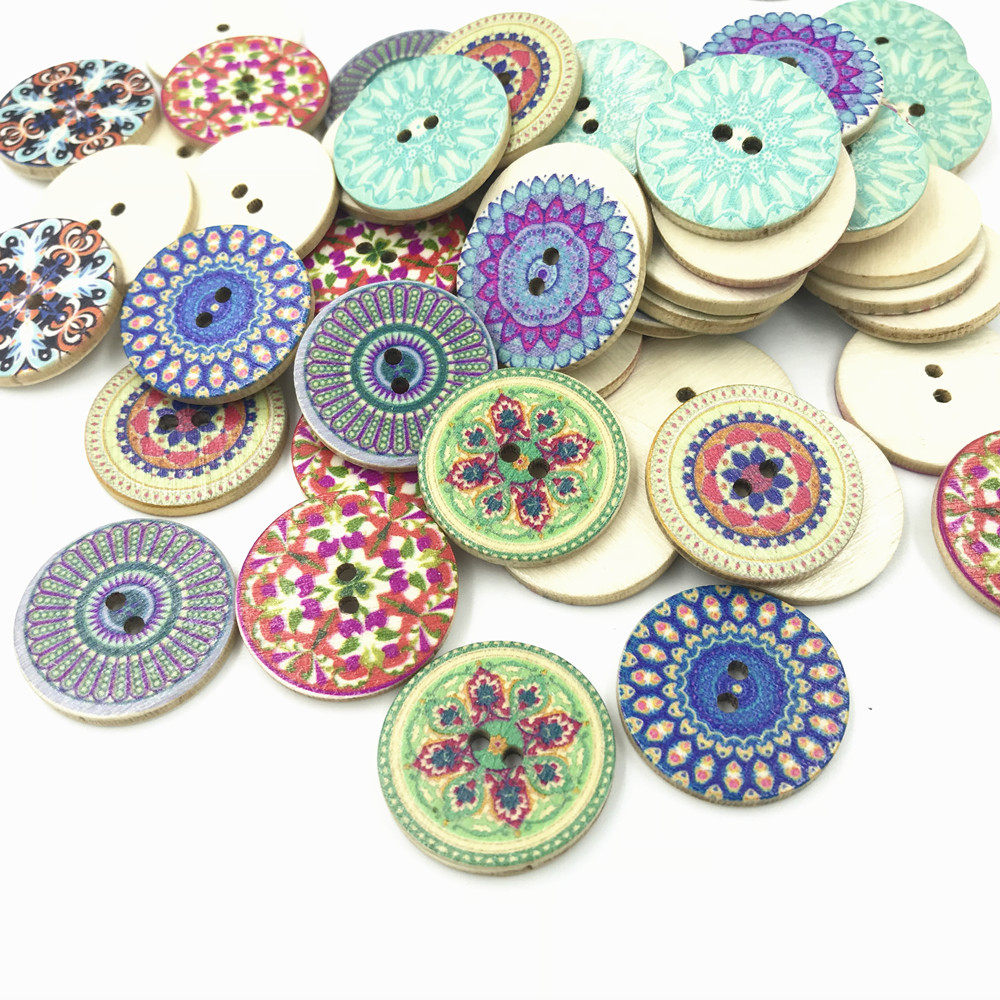 50 Pcs Mixed Colors Buttons Baby Kids Cute Dogs Wooden Button Scrapbook DIY