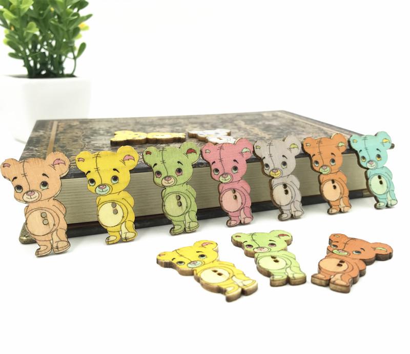 50Pcs Machine à Coudre Boutons en Bois Cartoon 2 Holes Mixed Color Sewing Craft À faire soi-même
