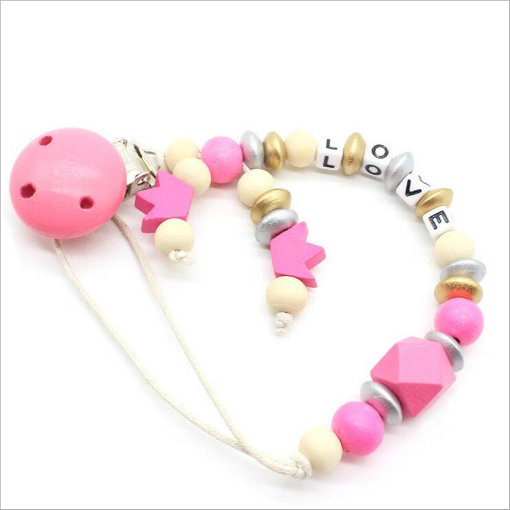 Pink Crown Bear Beaded Wood Pacifier Clips Pacifier Chain Baby Soother Clips