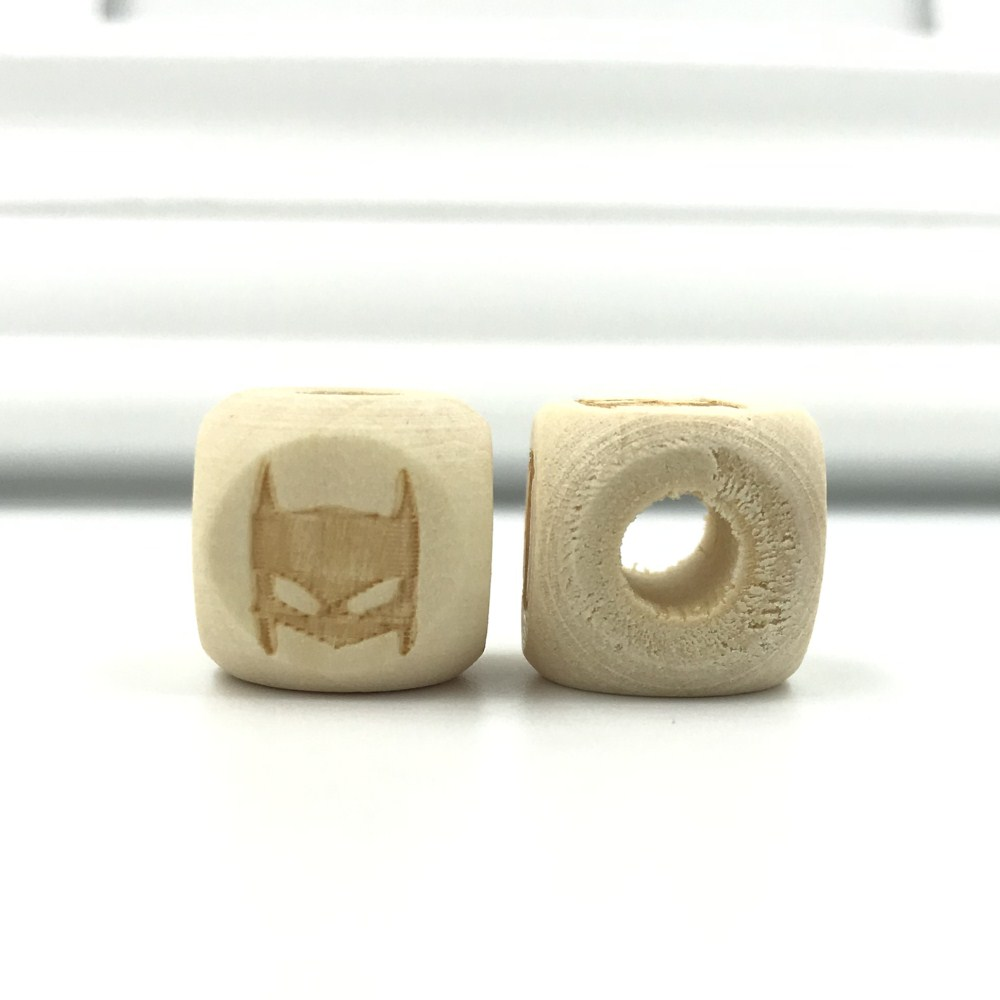 DIY Natural wood Cube Wood Beads No paint making Kids Toy Jewelry Pacifier chain