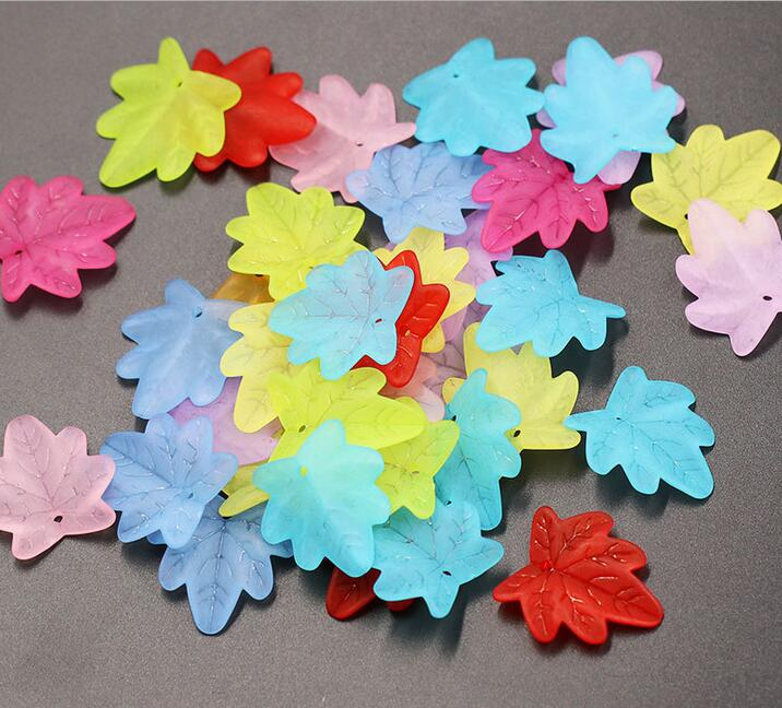 200pcs Acrylic frosted leaves Pendant Beads Jewelry material Accessorie 15mm diy