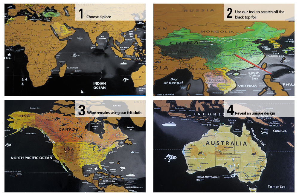 Travel Tracker Big Scrape Off World Map Poster With US States And - Big map of us poster