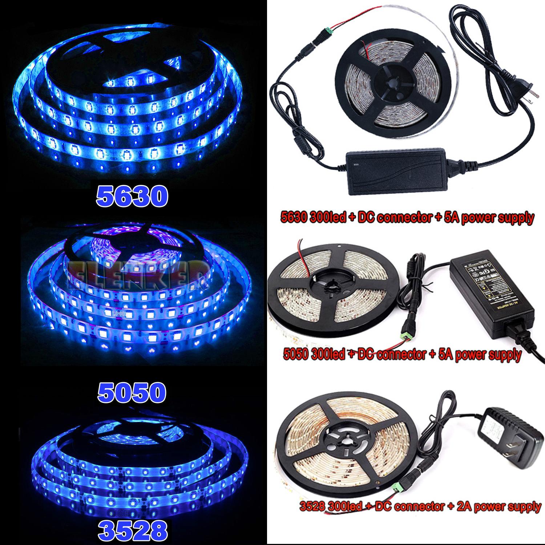 5M 10M SMD 3528 5050 5630 300LEDs RGB White LED Strip Light 12V