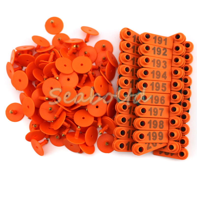 100PCS 101-200 Number Plastic Livestock Ear Tag For Goat Sheep Pig Orange