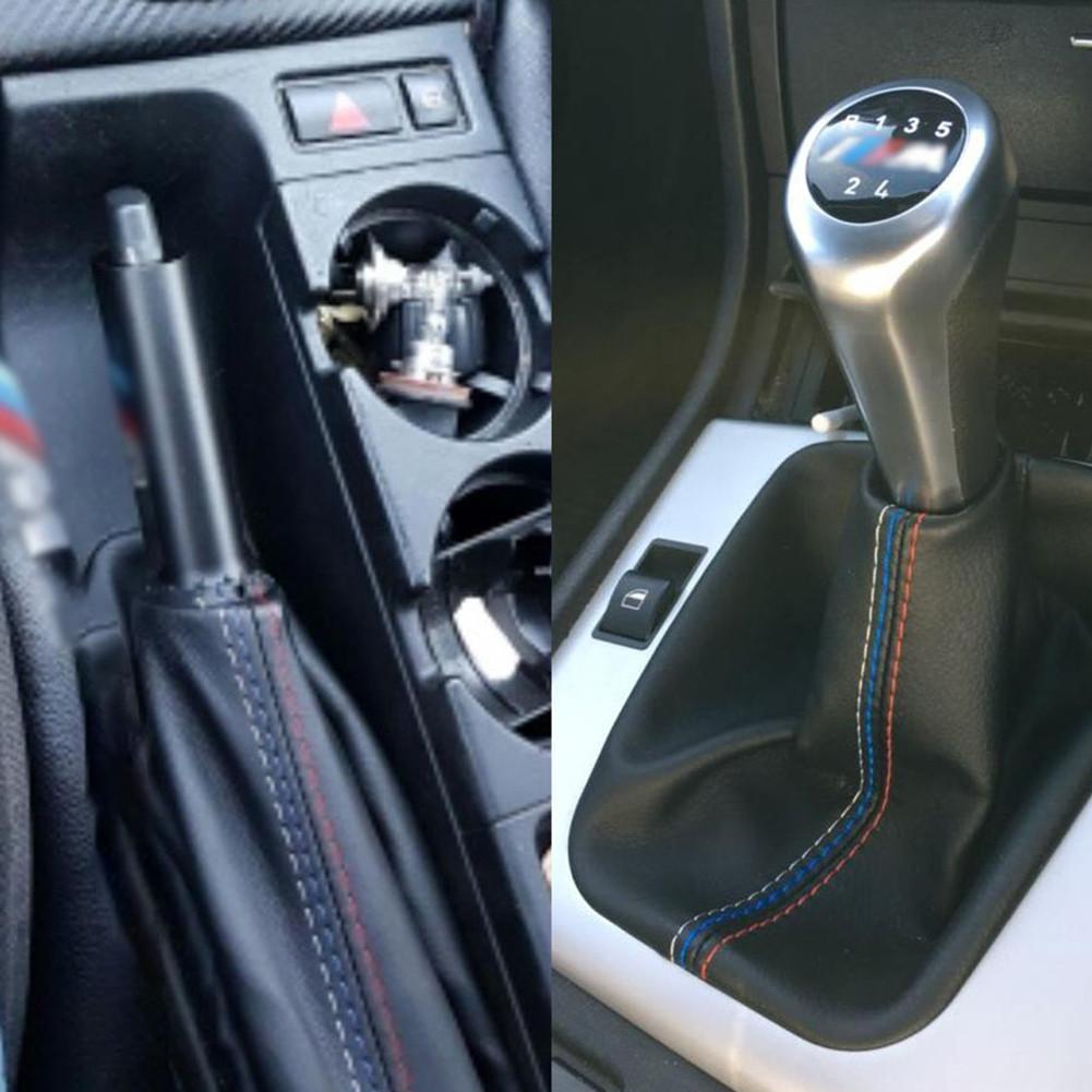 FITS BMW E46 M3 STRIPES GEAR HANDBRAKE GAITER BLACK LEATHER